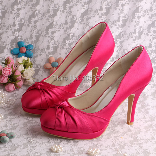 Wedopus Custom Heel and Color Hot Pink Wedding Bridal Shoes for Women High  Heeled 8a3aa1e0400d