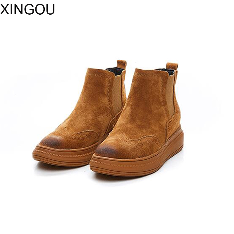 New Genuine Leather women boots Fashion 2018 Round Toe Martin boots women solid Female flats heel Ankle Boots front lace up casual ankle boots autumn vintage brown new booties flat genuine leather suede shoes round toe fall female fashion