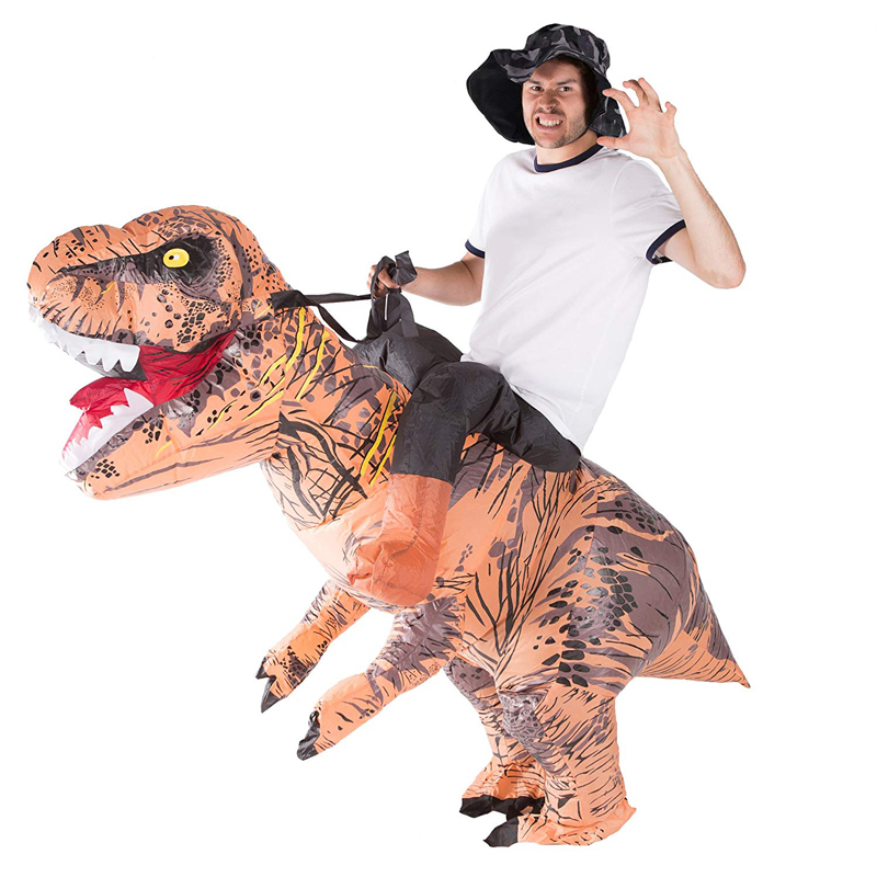 T-REX Inflatable Costume Purim Ride On Dinosaur Costume Blow Up Suit Carnival Halloween Inflatable Costume Adult