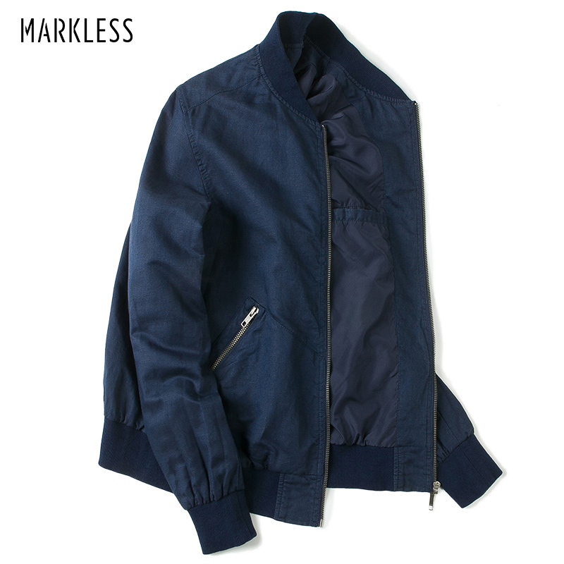 Markless 2018 Men's Navy Blue Jacket Coat Men Baseball Style Jackets Male Slim Fit Jackets campera hombre JKA7111M