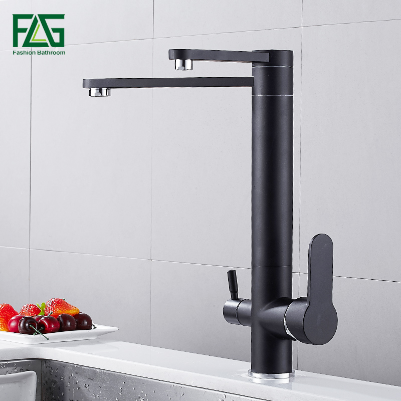 FLG Solid Brass Drinking Water Kitchen Faucet 3 Way Water Filter Purifier Kitchen Mixer For Swivel