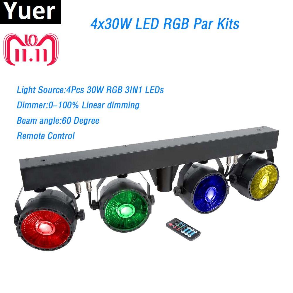 все цены на Hot Sale LED Par Kits 4PcsX30W RGB Full Color DMX512 Remote Control 7DMX Channl With Light Stand For Stage Wedding DJ Disco Show онлайн