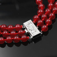 3 Rows Fashion Natural Red Jades Rubys Chalcedony Round Beads 8mm Bracelet Lady Jewelry Wholesale Retail 17 19 inch Y39