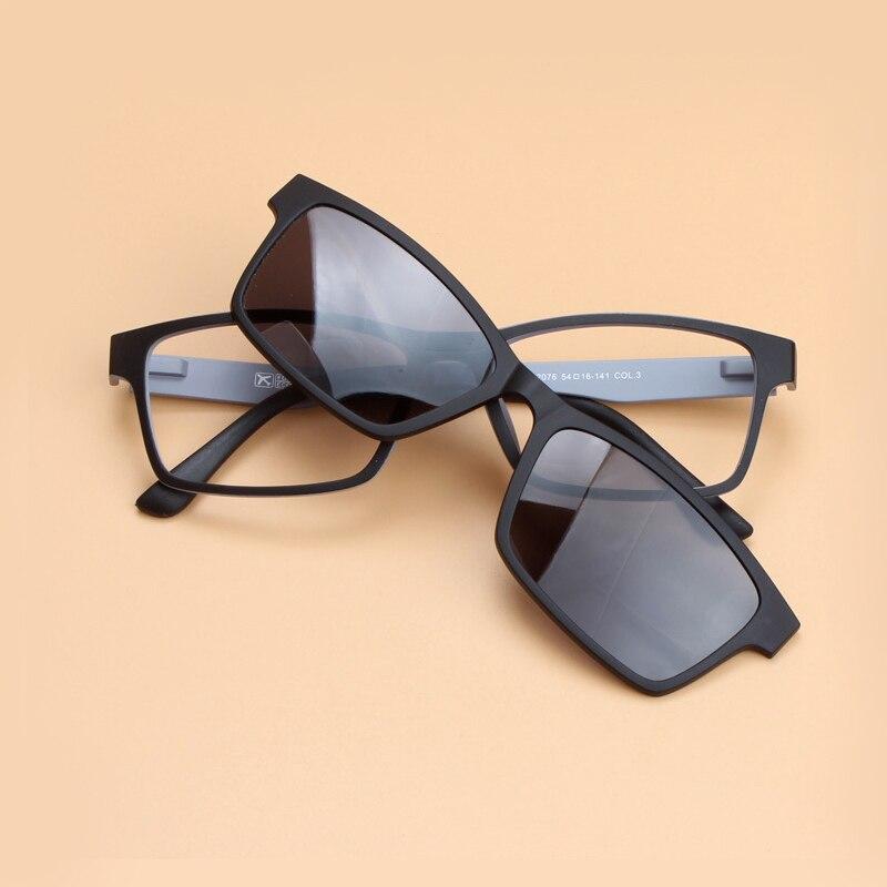 1b0f9451419 Men s Polarized Sunglasses Magnetic Clip On Double Lens Sun Glasses Men  Women Square Optical Glasses Frame