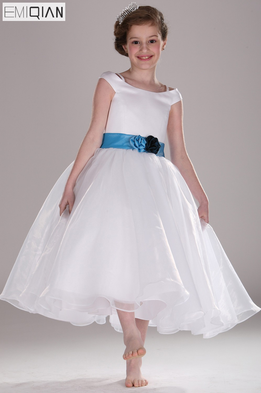 Freeshipping New Arrival Cute Cap Sleeve White Organza with Blue Belt   Flower     Girl     Dress