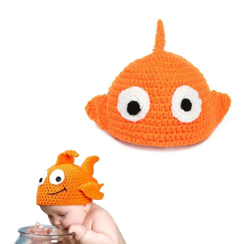 Cute Newborn Baby Handmade Beanies Cartoon Fish Style Knitted Crochet Photography Props Hats FJ88