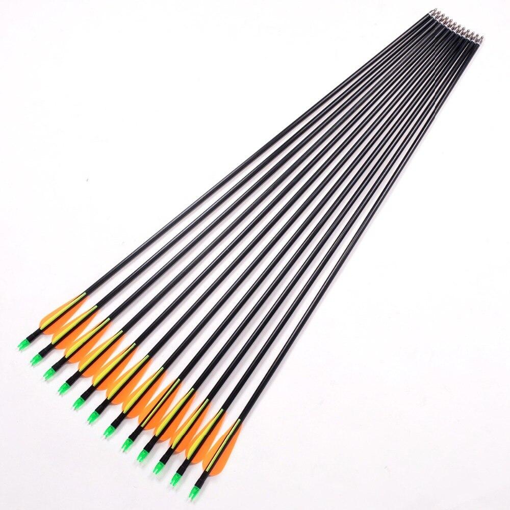 Шутер стекловолокна стрелка 80 см стрельба из лука Охота стекловолокна Стрелка НОК доказательства Сталь точка 30-80lbs для соединения/длинный л...