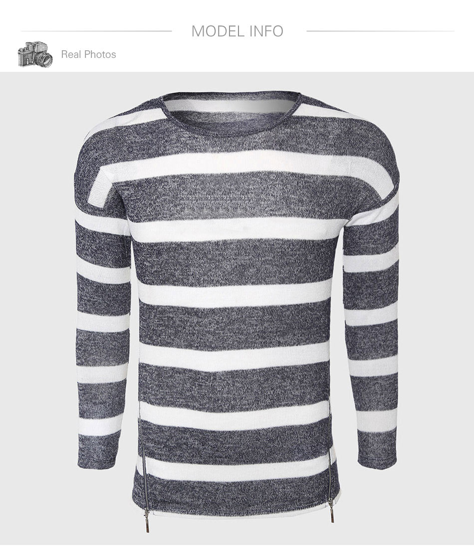 Grey White Striped Sweaters Men Cotton Cable Knit Sweater Classic O Tendencies Short Shirts Basic Long Collar Less Putih M Aeproductgetsubject