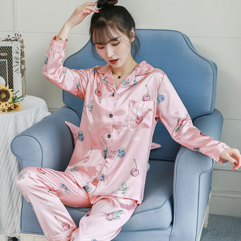 Women Sleepwear 2019 Spring   Pajamas   Adult Silk Print Sweet Women Sleepwear   Set   Girl Nightgown Long Pant Cute Silk   Pajamas     Sets
