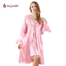 Yuzihua 2017 Lace Robe Satin Nightgown Sexy Robe Set Women Nightdress Bathrobe Gecelik Splicing Nightwear Night Home Dress