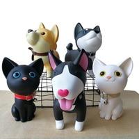 SIBAOLU Delicate PVC Knock down Dog Money Box Lovely Birthday Gift Husky Puppy Piggy Bank Cartoon Dogs Figurines Coin Box
