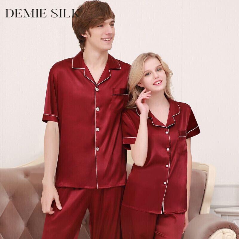 Demiesilk pár pizsama készlet Nyári hálóruha utánzatok Selyem - Női ruházat