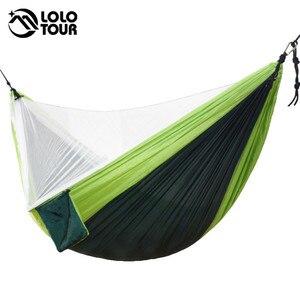 Image 3 - Easy Set Up Mosquito Net Hammock Double Hamak  290*140cm With Wind Rope Nails Hamac Hamaca Portable For Camping Travel Yard
