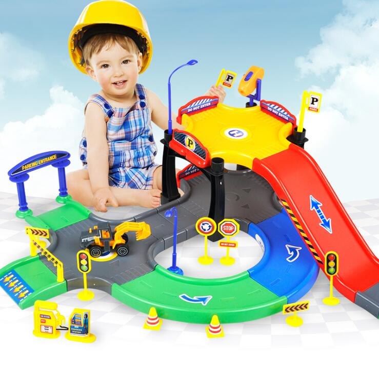Children s DIY toys urban engineering parking lot puzzle toys toys Assembled track parking
