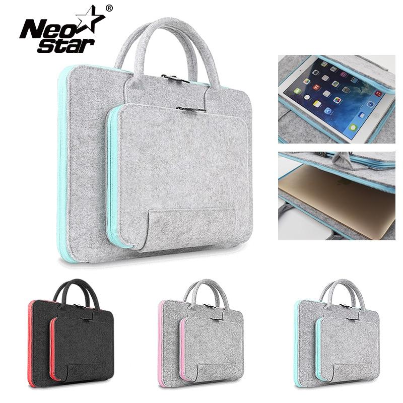 Feltro de lã Saco Do Portátil Para Mac 11 13 15 17 Rato Sacos Maleta para Macbook Air Pro Retina Para Lenovo manga Notebook Caso