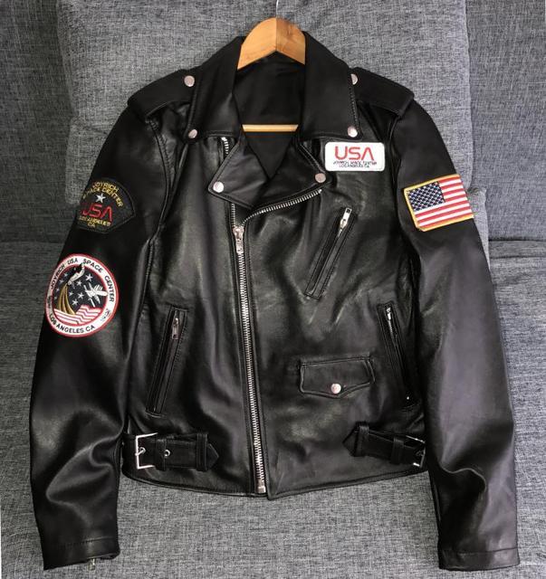 00301af3a2c8c Unisex Kurtka Motocykl Skórzana kurtka kobiety Marynarki męskie Ze Skóry  Naturalnej Owczej Hollywood nowy stacji kosmicznej