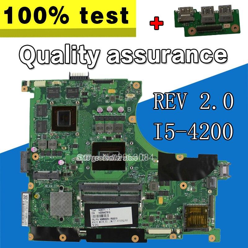 Отправить доска + N56JR материнской REV2.0 i5 4200 GT760 2 г для ASUS n56jk G56JK Материнская плата ноутбука N56JR плата N56JR материнская плата