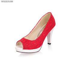 NVXIEUNION 2017 size 31-43 High quality new Open Toe High Heels pumps Women lace Pumps new shoes women party sheos(China (Mainland))