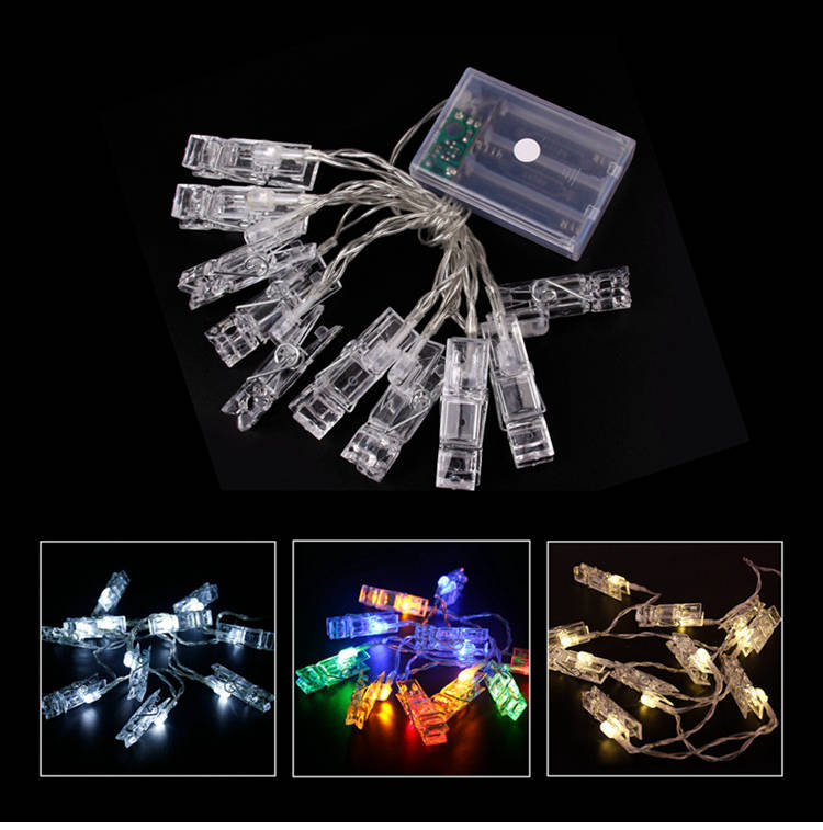 1.5 Meter LED String Lights With 10 Mini Crystal Clips For Photo Polaroid Index Film Display Bedroom Light Decoration