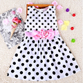 2016 Fashion Baby Girls Dress Cotton Sleeveless Korean Version Dress With Ribbons O-neck Casual Dress For Cute Girls Party