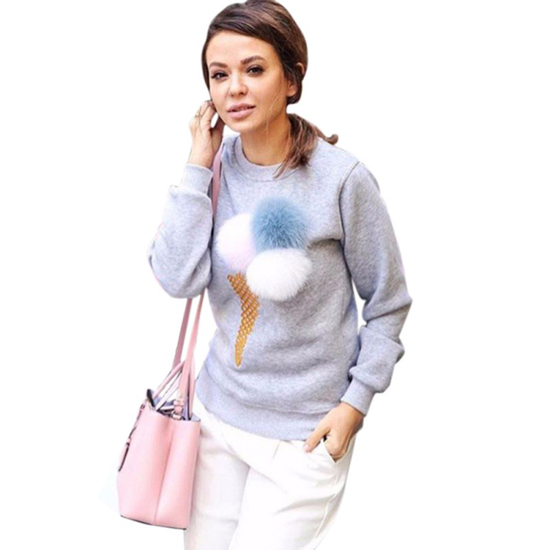 New Autumn Sweatshirt Women Colorful Plush Removed Ball Long sleeve O-neck Causal Tracksuit Ladies Truien Dames Women Hoodies S4