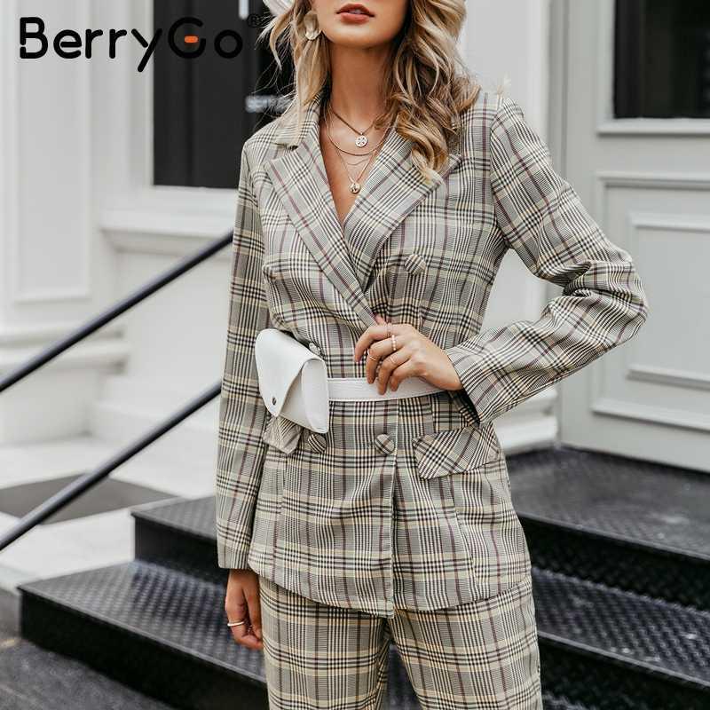BerryGo eleganckie plaid blazer spodnie damskie Casual odzież streetwear na jesień i zimę damskie spodnie wysokiej talii biurowa, damska spodnie garnitury