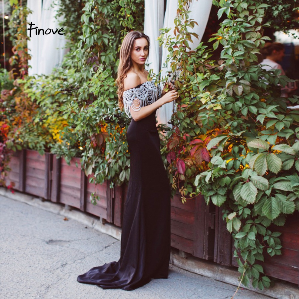 Finove Navy Blue Mermaid Evening Dresses 2019 New Arrivals Beading Boat Neck Long Formal Occasion Party Dresses robe de soiree