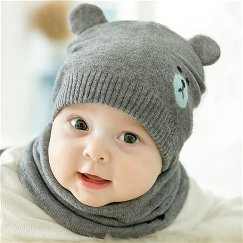 2 pcs/set Autumn Newborn Baby Knit Hat Scarf Set Cartoon Bear Kids Boys Girls cute ear Winter Beanie Hat Scarf suit 0-18M
