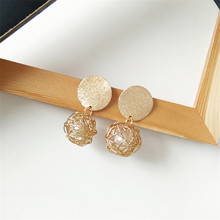 Contracted and fashionable metal earrings weaving temperament pearl net 2018 Fashion jewelry wholesale