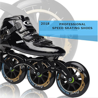 2018 Edition 6 Layer Carbon Fiber Inline Speed Skates for Professional Racing Player, High Elastic 85A Indoor Track PU Wheel