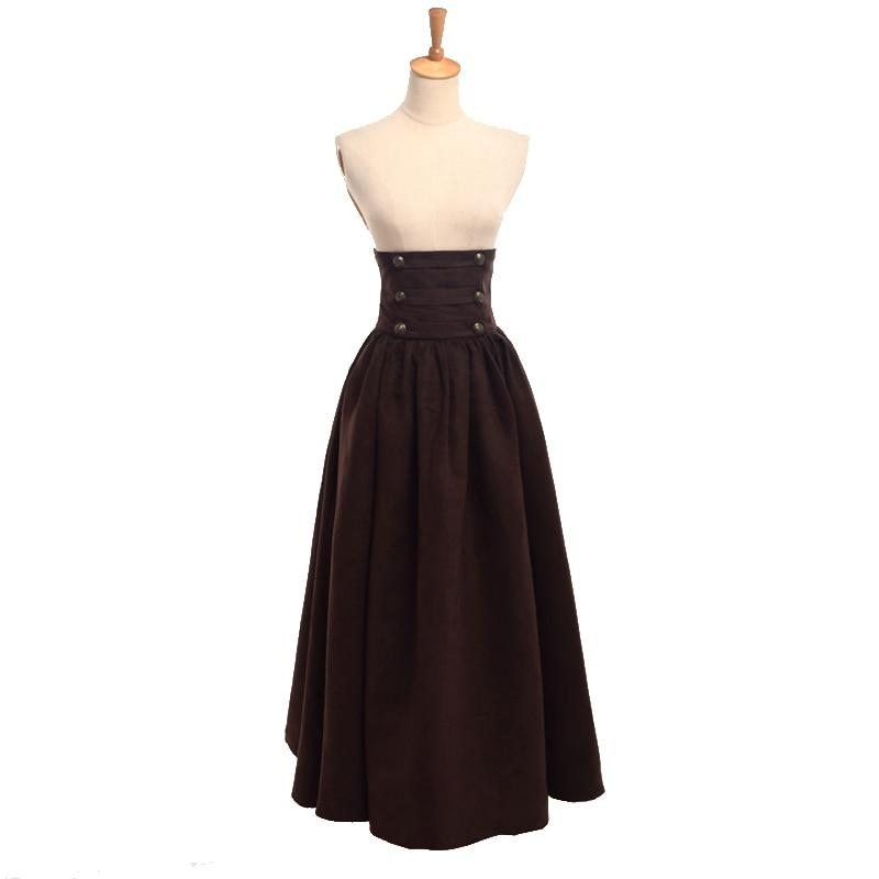 Women Steampunk Skirt Vintage Gothic High Waist Double-breasted Maxi Long Walking Victorian Renaissance Skirts