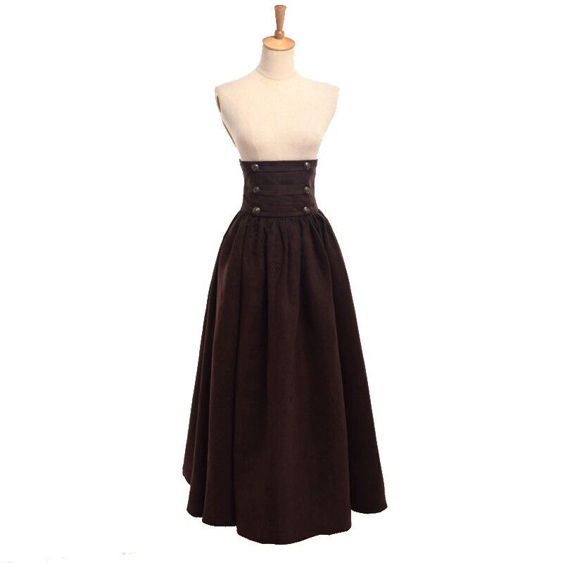ce526cb8925a Women Empire Steampunk Skirt Vintage Renaissance Gothic High Waist  Double-breasted Maxi Long Walking Victorian