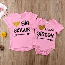 Боди/футболки с надписью «Little Big Sister»; боди для маленьких девочек; футболка для девочек с надписью «Big Sister»; футболки; одинаковые комплекты для семьи