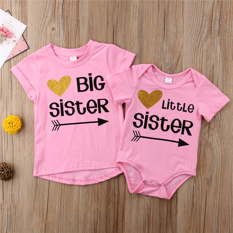 Little Big Sister Bodysuit/T-Shirts Little Sister Baby Girls Bodysuit Big Sister Girls T-shirt Tops Tee Family Matching Outfits