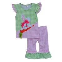 תלבושות תינוקת קיץ הגעה חדשה יום פסחא עם ארנב חמוד בגדי ילדי תבנית וגזר E005