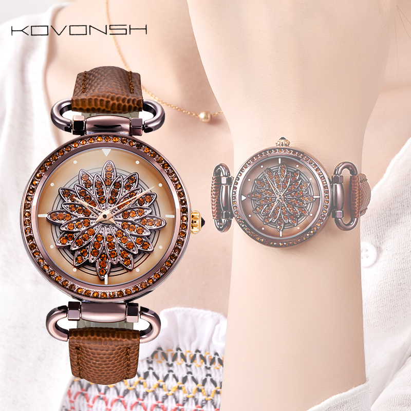 KOVONSH 360 Degree Rotation Dial Luxury Leather Women Watches Diamond Lady Watch Fashion Dress Quartz Wrist Watches Dropshipping women lady dress watch retro digital dial leather band quartz analog wrist watch watches for dropshipping