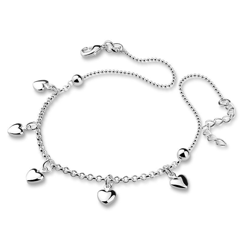 Fashion silver women anklets.Solid 925 sterling silver heart pendant anklets.Ball girl anklets.Charming lady silver jewelry