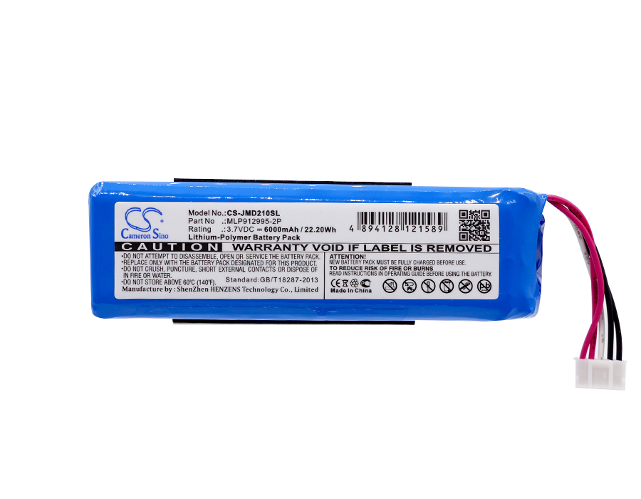 Cameron Sino 6000mAh Battery MLP912995-2P for JBL Charge 2 Plus, Charge 2+, check the place of 2 red wires and 2 black wires