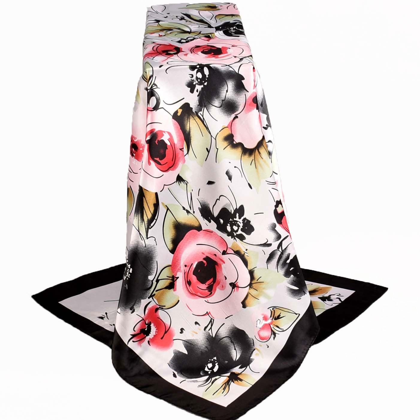 Lenco Women Rose Silk Scarf Printed,90*90cm Multicolor Satin Scarf Shawl For Ladies,Fashion Handkerchief Spring Silk Scarves
