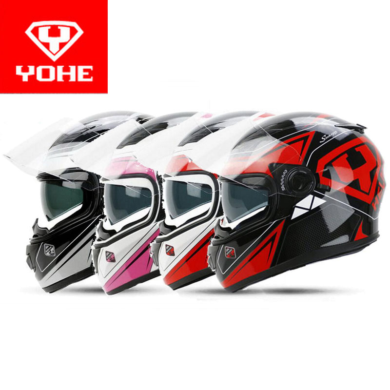 2017 winter New YOHE Full Face Motorcycle Helmet YH-970 full cover Motorbike helmets made of ABS PC visor lens 15 kinds colors 2017 new yohe half face motorcycle helmet yh 868 abs motorbike helmet double lens electric bicycle helmets for four seasons