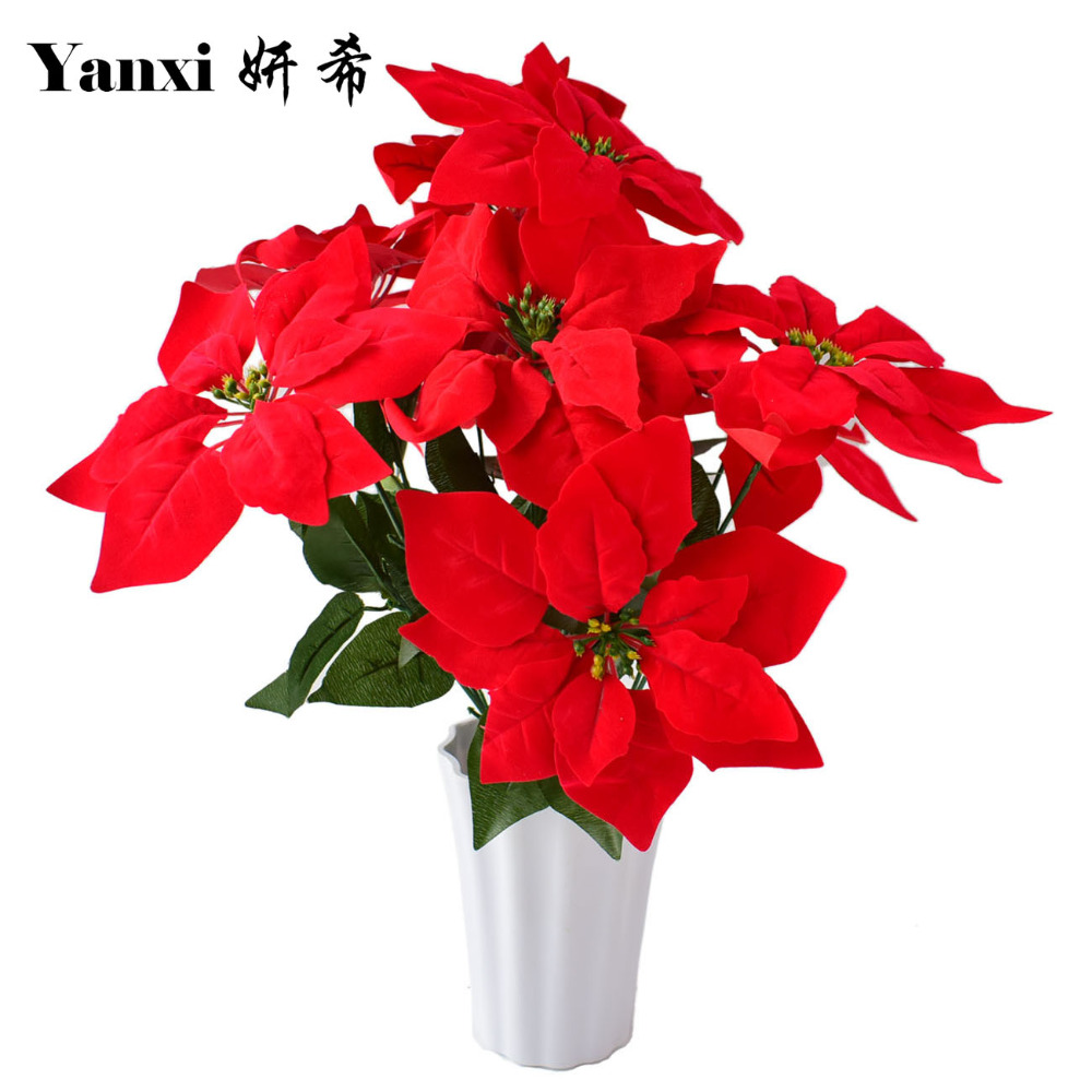 Artificial poinsettia christmas flowers with vase set for Artificial decoration flowers