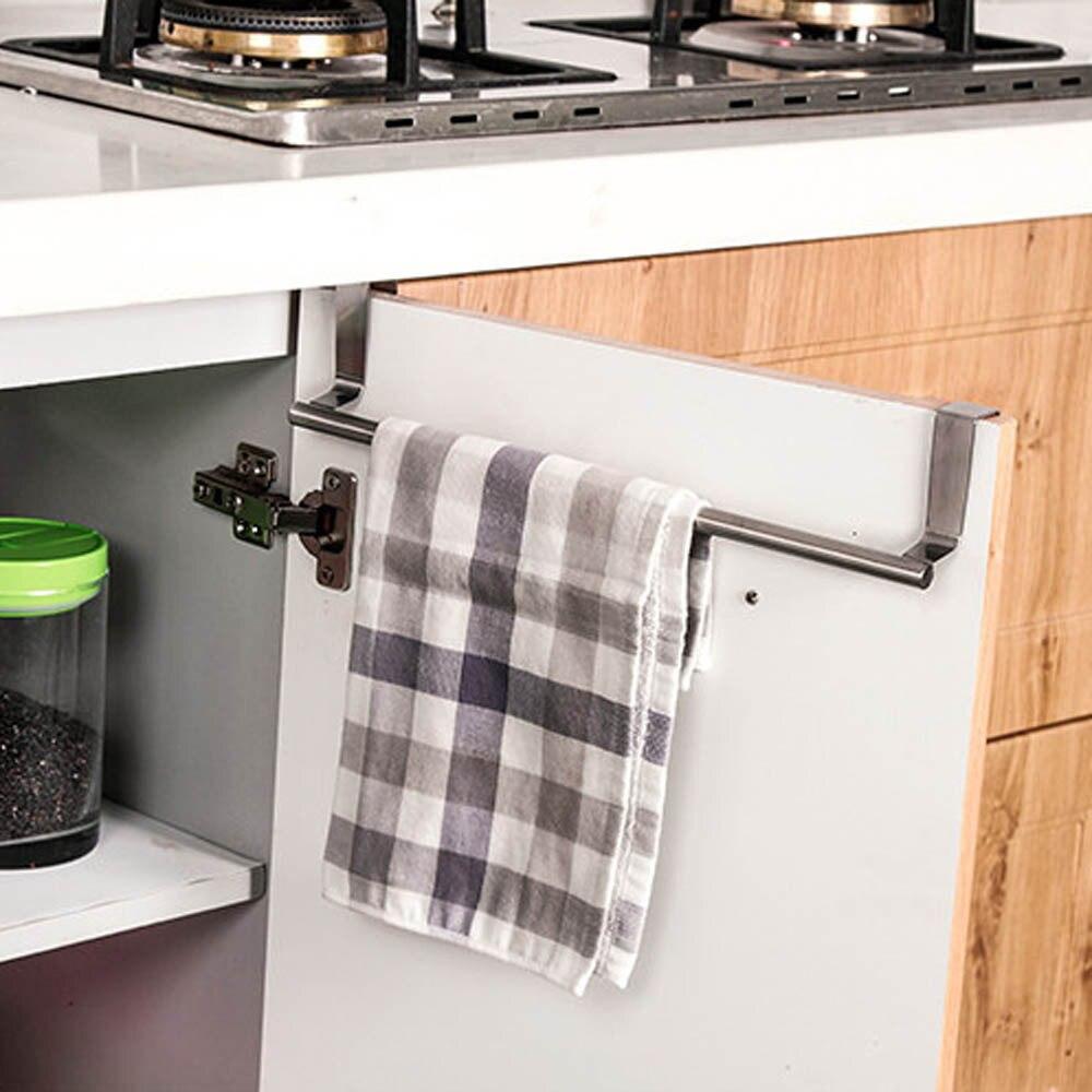 Towel rack kitchen cabinet - Easy Over Door Towel Rack Bar Hanging Holder Bathroom Kitchen Cabinet Shelf Rack Towel Holder Rack