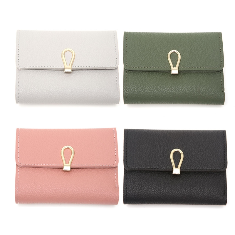 THINKTHENDO Women Girls Faux Leather ID Credit Card holder Clutch Purse Short Wallet Pocket