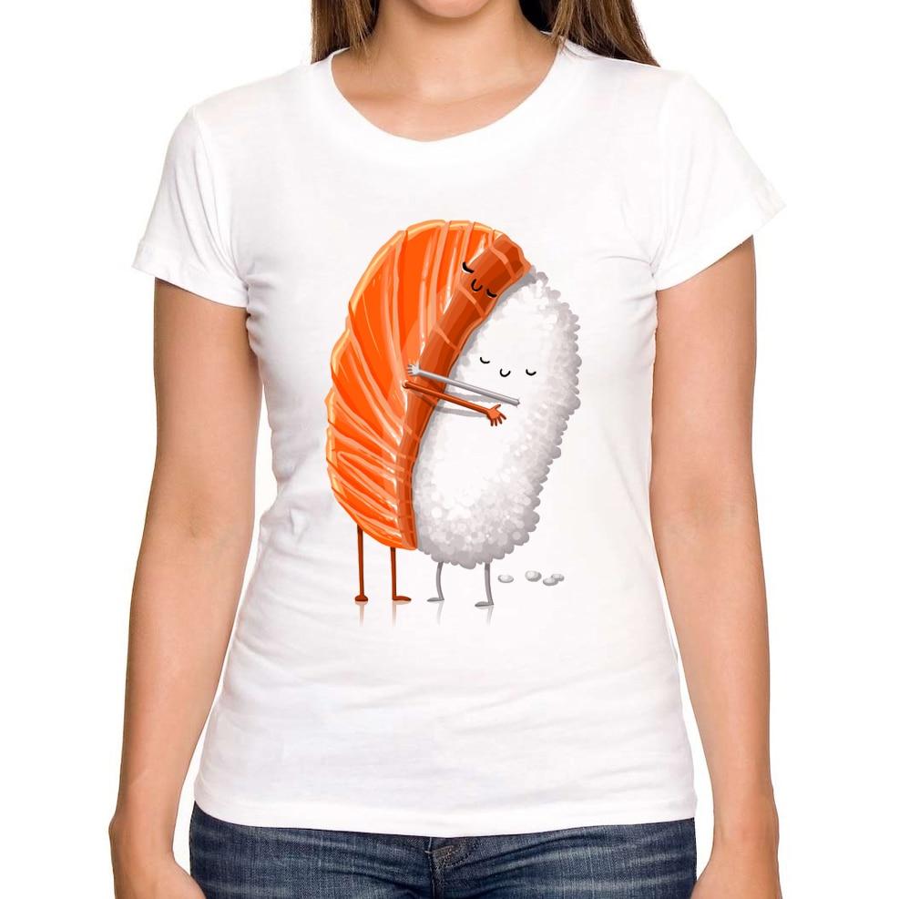 2016 newest fashion sushi love printed women t shirt funny for Custom fashion t shirts