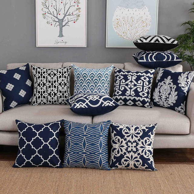 Home Decor Embroidered Cushion Cover Navy White Pillowcase Canvas