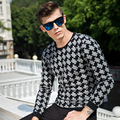 2016High quality brand new men's fashion men's wear sweaters in winter plover round collar thin stripe sweaters