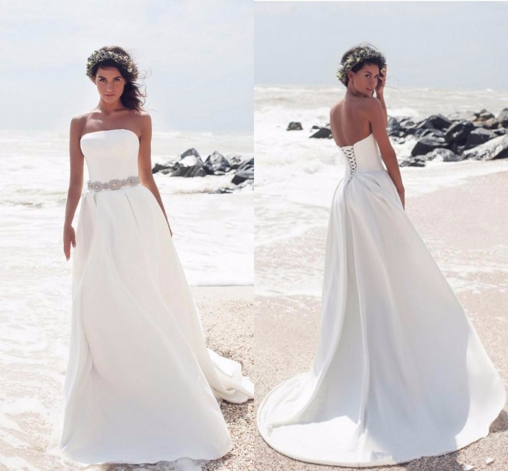 Strapless Satin Beach Wedding Dresses Crystal Sash