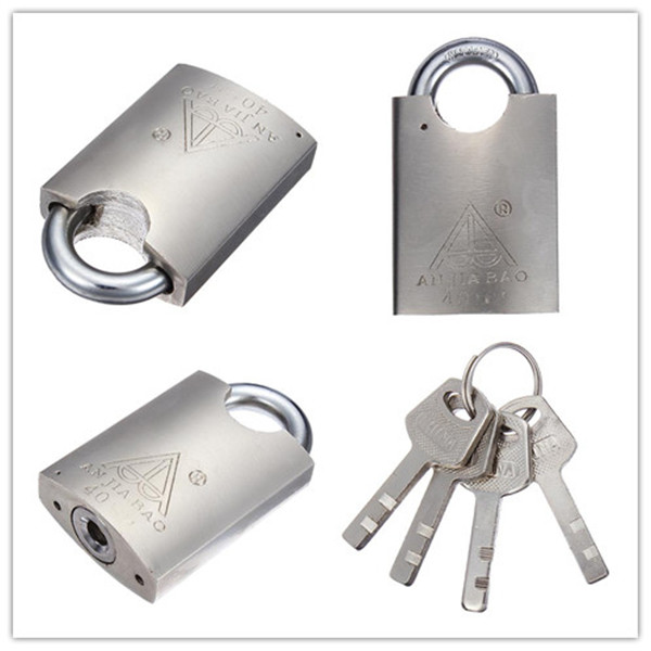 40mm Heavy Duty Solid Lock Door Gate Box Safety Stainless Steel Padlock Gold Tone 4 Keys New High Security