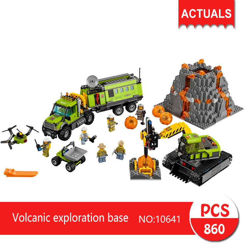 Lepin bela 10641 860Pcs City series Volcanic exploration base Model Building Blocks Set Bricks Toys For Children Gift 60124 lepin 02012 city deepwater exploration vessel 60095 building blocks policeman toys children compatible with lego gift kid sets