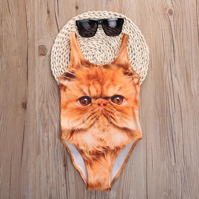 2017 maillot de bain enfants filles Bikini imprimé Animal mignon maillot de bain maillot de bain 3-10 ans imprimé chat maillots de bain pour enfant